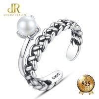 perlenringe zinken großhandel-DR Fashion Design Silber 925 Sterling Silber Offene Ringe Für Frauen Prong Einstellung Natürliche Perle Adistable Ring Retro S925 Schmuck