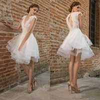 Wholesale knee length wedding dresses resale online - Stylish Lace Appliqued Backless Short Wedding Dresses With Cap Sleeves A Line Deep V Neck Knee Length Tulle Tiered Bridal Gowns