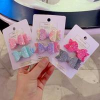 çift payetler toptan satış-2 adet / takım Sevimli Mini Küçük Kızlar Saç Yaylar Klipler Çift Katmanlı Glitter Çocuklar Tokalar Sequins Prenses Headdress Aksesua ...