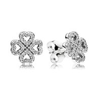 lüks düğün çiçekleri toptan satış-Lüks Moda CZ Elmas Çiçek Saplama Küpe Orijinal kutusu Pandora 925 Gümüş Şanslı Yonca Düğün Küpe Kadınlar için Set