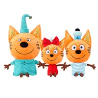 Wholesale cookie toys resale online - 2019 New cm Russian Three Happy Cats kid e Cats Cookie Candy Pudding plush Doll Action Figure children Toy Christmas Gift