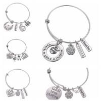 inspirer des pendentifs achat en gros de-Lettres Bracelet Cadeaux Cadeau Du Jour Des Enseignants Bracelet Amour Inspirer Enseigner Bracelets Charm Pendentif Professeur Bijoux Accessoires De Mode GGA2004