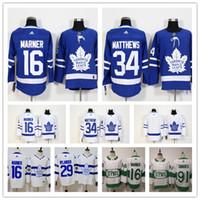 kadın yamaları toptan satış-2019 Toronto Maple Leafs Jersey 91 John Tavares Kaptan C Patch 16 Mitch Marner 34 Auston Matthews Womens Gençlik Çocuk Hokeyi Formalar