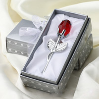 Wholesale souvenir for wedding crystal resale online - Romantic Wedding Gifts Multicolor Crystal Rose Favors With Colorful Box Party Favors Baby Shower Souvenir Ornaments For Guest