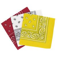venda del pañuelo blanco al por mayor-Paisley bandanas set of 3 - Bufanda de algodón de cachemir con diadema, accesorio para el cabello de moda (blanco rojo amarillo)