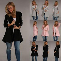 Wholesale hooded trench cardigan for sale - Long Sleeve Pocket Cardigan Outwear Woman Trench Warm Winter Coats Fashion Drawstring Casual Jackets Overcoat TTA139