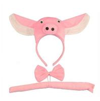 cintas de cosplay al por mayor-Adulto niño niño niña cerdo 3D diadema Tail Tie Animal Cosplay conjunto de disfraces de halloween fiesta para niños de Navidad GB454