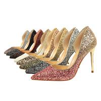 zapatos del club del brillo al por mayor-De tacón alto, boca baja, puntiaguda, sexy, club nocturno, delgado, color degradado, color a juego, lentejuelas, lado hueco, zapatos jooyoo