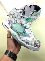 basketbol ayakkabıları yeşil renkte toptan satış-2018 Yeni Yayın 5 Kanatları 3 M Yansıtıcı Beyaz Yeşil 5 S Sporları Glow Karanlık Sneakers V Basketbol Ayakkabıları