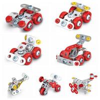juguetes de metal modelo de coche al por mayor-Asamblea del helicóptero 3D de ingeniería de chapa Vehículos kits modelo de coches de juguete ATV motocicleta 4WD Coche Construir Puzzles artículos de la novedad 60pcs CCA10822-A