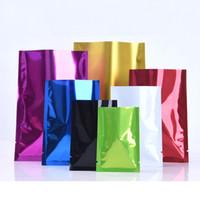Wholesale vacuum storage boxes resale online - 7 Colors Aluminum Foil Bag Pouch Mylar Bag Vacuum Bags For Food Storage Aluminum Flat Bags factory LX2435