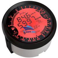 presión de fuel oil al por mayor-Auto 6-In-1 Multifunción Modificación Indicador 85mm GPS Velocímetro Tacómetro Calibrador de combustible 8-16v Volt Meter Medidor de temperatura del agua 0-5Bar Presión de aceite