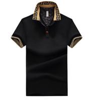 polo à manches courtes achat en gros de-Mens Designer Designer Chemises Homme Poloshirt Été Décolleté Col En V En Coton À Manches Courtes Hommes Casual Polo Tops