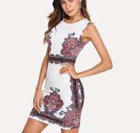 impressão digital vestido vintage venda por atacado-Primavera vestido de mulheres europeias e americanas e temporada de verão pano Digital print vintage dress