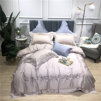 Wholesale luxury chinese bedding sets resale online - 4Pcs gray purple luxury Egyptian cotton bedding set queen king bed set Chinese embroidery duvet cover bed sheet pillowcase