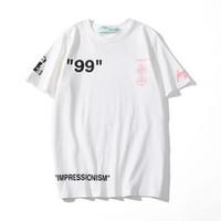 белая хлопковая рубашка для мужчин оптовых-19SS марка футболка мужская OFF дизайнер БЕЛЫЙ модный тренд футболки улица хип-хоп футболки футболки хлопка высокого качества мужчины женщины пара тройники