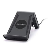 беспроводная конструкция зарядного устройства оптовых-QI Быстрая зарядка для Iphone / Samsung / HW Беспроводное зарядное устройство Дизайн подставки с 2 катушками Зарядите телефон вертикально настенное зарядное устройство