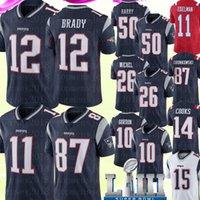 brady formaları toptan satış-12 Tom Brady Jersey 87 Rob Gronkowski 11 Julian Edelman Yeni Englan Patriots Forması 50 N'Keal Harry 26 Sony Michel Josh Gordon Formaları