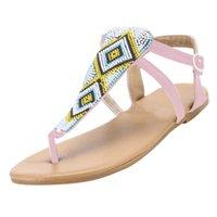 boncuk sandaletleri toptan satış-İlkbahar Yaz Kadın Bayanlar Moda 2019 yaz yeni moda trendi mat özel Dize Boncuk Casual Flats Roma Ayakkabı Sandalet # 89