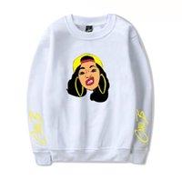 bayanlar xl hoodie toptan satış-Moda Cardi B Dijital Baskı Tişörtü Bayanlar Renkli Uzun Kollu O Boyun Bayan Hoodies