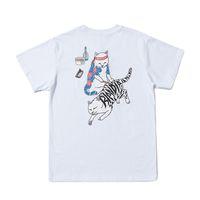 белые боксерские шорты оптовых-Ripndip Mens Designer T Shirt Box Логотип Мужчины Женщины Высокого качества с коротким рукавом Черный Белый RIPNDIP Хип-хоп Футболка S-XL