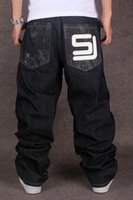 мужчины свободные джинсы дизайнер оптовых-2017 Men's Black Baggy Jeans Hip Hop Designer CHOLYL Brand Skateboard Pants loose Style True HipHop Rap Jeans Boy