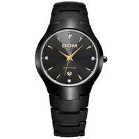 роскошные часы из вольфрама стали оптовых-DOM  Sapphire Crystal Top  Men's Watch Tungsten Steel Wrist Waterproof Business Quartz Watches Fashion Clock W-698