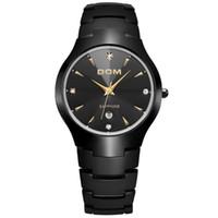 мужские часы с вольфрамовым сапфиром оптовых-DOM роскошные сапфировое топ бренд мужские часы вольфрама стали запястье водонепроницаемый бизнес кварцевые часы мода часы W-698