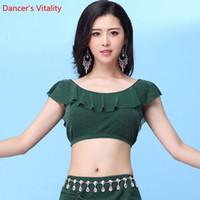 camisas del vientre de las mujeres al por mayor-Venta al por mayor profesional Silver net T-Shirt Dance Top mujeres Dance Tops y camisetas para mujeres Belly Tops