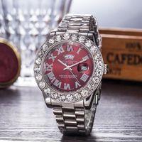 erkekler için elmas marka saatler toptan satış-Relogio Altın Lüks Erkekler Otomatik Buzlu Out İzle Erkek Marka İzle Roma Cumhurbaşkanı Kol Kırmızı Iş Reloj Büyük Elmas Saatler erkekler