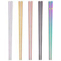 pauzinhos de aço inoxidável de alta qualidade venda por atacado-Novo Brilhante Titanium Banhado A Ouro de Alta qualidade Chopsticks, Chopsticks de Aço Inoxidável Colorido, Boa Qualidade de Ouro Arco-Íris Quadrado Chopsticks