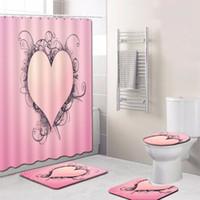 tapete do banheiro do coração venda por atacado-Cortina de chuveiro em forma de coração Tapetes de Banho Set 4 pçs / set Anti Slip Banheiro Tapete Banheiro Lavável Tapetes Higiênico Alfombra Bano