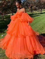 Wholesale organza african dresses resale online - Saidmhamad Off the Shoulder Orange Prom Dress Ball Gown Sexy Sweetheart Evening Gowns Party Dresses Saudi Arabia Guest Dress african dresses