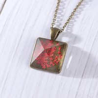 Wholesale vintage dried flowers for sale - Group buy Dried Fowers Pendant Necklaces Beautifully Vintage Glass Necklace Women Square Pendant Necklace