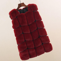 искусственные меховые покрывала оптовых-Women O-Neck Sleeveless Faux  Fur Patchwork Covered Button Slim Vest Coat Casual Winter Cardigan