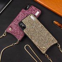 bling credit card case toptan satış-Bling Crossbody Telefonu Cüzdan çanta Kredi Kartları için Kılıf Kapak ile Askı uzun zincir iphone XR XS MAX X 6 S 6 7 8 artı Kapak