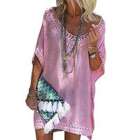 mini pembe plaj elbisesi toptan satış-Kadınlar güneş elbiseler bikini cover up plaj yüzmek aşınma dantel boru hollow 1/2 batwing kollu mini mayo dress pembe mavi sarı ücretsiz