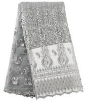 ingrosso reti da nozze-2019 Nuovo tessuto di pizzo africano Tessuto da ricamo in pizzo Tessuto francese a rete Tessuto di pizzo africano nigeriano per abbigliamento da sposa Tessuto di alta qualità