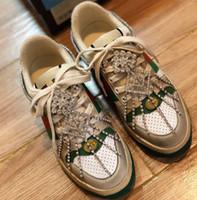senhoras sapatos cristais venda por atacado-Chegada nova Das Mulheres Designer de Sapatilha com Cristais Cerejas Morango ACE Sapatilha Senhoras Lace Up Moda Sola De Couro Plataforma de Luxo Sapatos