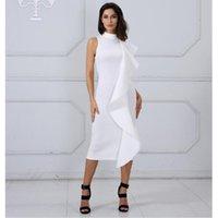 ingrosso ora si veste-Abito estivo è ora popolare nuovo vestito moda temperamento Slim donne senza maniche cuciture a balze abito da ballo sexy di colore solido arruffato