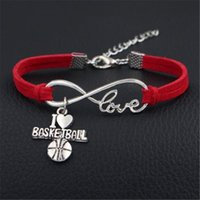 Wholesale infinity sports bracelets resale online - 2019 New Trendy Red Leather Suede Wrap Jewelry For Women Men Infinity Love I Heart Basketball Ball Sport Team Charm Bracelets Bangles Gift