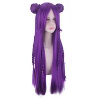 mor peruk orta toptan satış-Saç Bakımı Peruk Standları kadın Moda Peruk Mor Anime Orta Gül Net Peruk 31.5 inç Oyunu Cosplay Gül Net 2019 Feb19