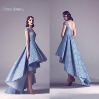 Wholesale celebrity wedding dress size for sale - Group buy A line High Low Prom Dresses Lace Bateau Neck Formal Homecoming Party Celebrity Gown Red Carpet Gowns