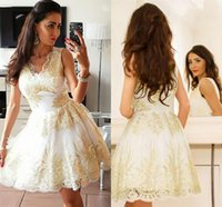 Wholesale cute cocktail dresses online - Cute Tulle A Line V Neck Homecoming Dress Short with Gold Appliques Lace Above Knee Cocktail Dresses Mini Special Occasion Dresses