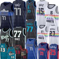 jersey 27 baloncesto al por mayor-Derrick Rose 25 jerseys del baloncesto de la NCAA Luka 77 Doncic Jersey Nikola 15 Jokic Jamal Murray 27 hombres del jersey de la universidad