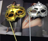 Wholesale ball masks sticks for sale - Princess Woman Mask On Stick Sexy Venetian Costume Ball Maskes Sequin Lace Edge Lateral Flower Gold Silver Party Mask