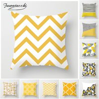 желтые наволочки оптовых-Fuwatacchi Geometric Cushion Covers Yellow And Gray Diamond Wave Pillow Case For Home Chair Sofa Decoration Square Pillowcases