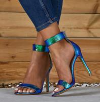 серебряные сандалии для свадьбы оптовых-Большой размер 35 до 40 41 42 сексуальной синих лодыжек ремня женщина дизайнер высокой пятки сандалии серебряных свадебные туфли приходят с коробкой