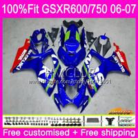 kit de carenagem yzf r1 fiat venda por atacado-Injeção Para SUZUKI GSX R600 GSX-R750 GSXR-600 Agradável GSXR600 06 07 Corpo 6HM.91 GSX R750 Estoque azul GSXR 600 750 K6 GSXR750 2006 2007 Carenagem