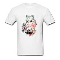 boyun tasarımı kız gömlek toptan satış-Desenler Tshirt Erkekler Serin Tasarım Kabarcık Sakız Seks Kız T Gömlek Yetişkin Pin Up T Shirt% 100% Pamuk Ekip Boyun Tee Gömlek